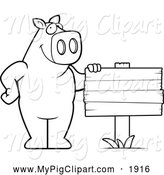 Swine Clipart of a Black and White Pig Beside a Blank Wood Sign by Cory Thoman