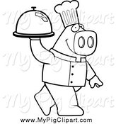 Swine Clipart of a Black and White Pig Chef Carrying a Cloche Platter by Cory Thoman
