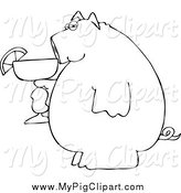 Swine Clipart of a Black and White Pig Drinking a Margarita by Djart