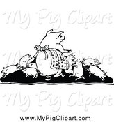 Swine Clipart of a Black and White Pig Family by Prawny Vintage