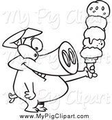 Swine Clipart of a Black and White Pig Holding a Big Ice Cream Cone by Toonaday