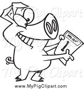 Swine Clipart of a Black and White Pig Holding a March 1st Calendar by Ron Leishman