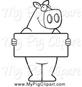 February 14th, 2014: Swine Clipart of a Black and White Pig Holding a Sign Board by Cory Thoman