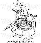 Swine Clipart of a Black and White Pig Lady Carrying a Basket by Prawny Vintage