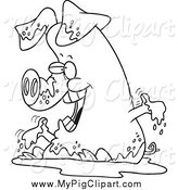 Swine Clipart of a Black and White Pig Playing in Mud by Toonaday