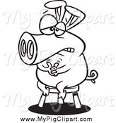 February 18th, 2014: Swine Clipart of a Black and White Pig Sitting on a Stool by Toonaday