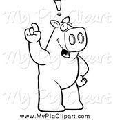 Swine Clipart of a Black and White Pig Standing Upright, Holding His Finger up with an Idea by Cory Thoman