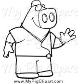 Swine Clipart of a Black and White Pig Surgeon Doctor Waving by Cory Thoman