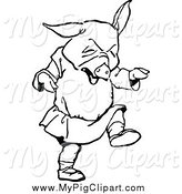 Swine Clipart of a Black and White Pig Throwing a Tantrum by Prawny Vintage