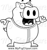 August 26th, 2014: Swine Clipart of a Black and White Pig Waving in Pajamas by Cory Thoman