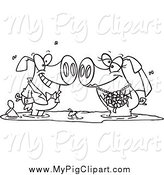 Swine Clipart of a Black and White Pig Wedding Couple in a Puddle of Mud by Toonaday