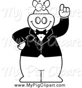 Swine Clipart of a Black and White Pig with an Idea Wearing a Tux by Cory Thoman