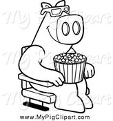 April 14th, 2014: Swine Clipart of a Black and White Pig with Popcorn and Watching a 3d Movie at the Theater by Cory Thoman