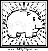Swine Clipart of a Black and White Piggy Bank and Rays by Cory Thoman
