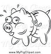 Swine Clipart of a Black and White Piggy Bank Being Squeezed by a Belt by Gnurf