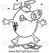 Swine Clipart of a Black and White Piggy Bank over Money by Toonaday