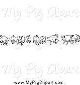 Swine Clipart of a Black and White Rear View of Running Pigs by Prawny Vintage