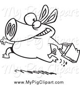 Swine Clipart of a Black and White Running Shopping Pig by Ron Leishman