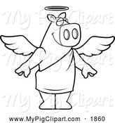 Swine Clipart of a Black and White Standing Angelic Pig by Cory Thoman