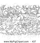 Swine Clipart of a Black and White Three Little Pigs and the Big Bad Wolf Coloring Page Outline, the Wolf Running Towards the House by Alex Bannykh