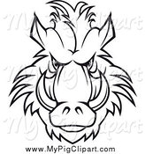 Swine Clipart of a Black and White Tough Razorback Boar Face by Vector Tradition SM
