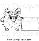 Swine Clipart of a Black and White Ugly Pig with a Sign by Cory Thoman