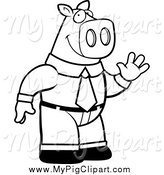 Swine Clipart of a Black and White Waving Business Pig by Cory Thoman