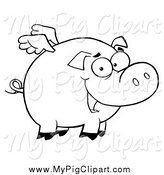 Swine Clipart of a Black and White Winged Pig Smiling and Flying by Hit Toon