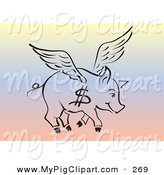 Swine Clipart of a Black Outline of a Flying Pig with a Dollar Sign on Its Side over a Rainbow Background by Pauloribau
