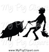 Swine Clipart of a Black Silhouetted Farmer Carrying a Piglet and Tugging a String on a Pigs Foot by Prawny Vintage