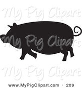 Swine Clipart of a Black Silhouetted Pig Facing LeftBlack Silhouetted Pig Facing Left by Prawny