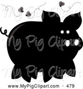 Swine Clipart of a Black Silhouetted Stinky Piggy Surrounded by Flies by Pams Clipart