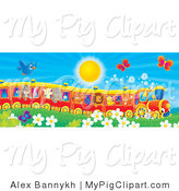 Swine Clipart of a Blue Bird and Red Butterflies Flying over Flowers near a Cat, Pig, Goat, Rhino, Squirrel, Lion, Chick and Fox on a Train on a Sunny Spring Day by Alex Bannykh