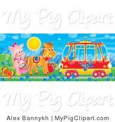 Swine Clipart of a Blue Bird in a Tram Car Passing a Pig and Horse by Butterflies and Flowers by Alex Bannykh