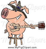 Swine Clipart of a Blues Pig Playing a Guitar by Toonaday