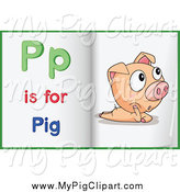 Swine Clipart of a Book Open to an Alphabet Letter P Is for Pig Pages by Graphics RF