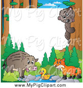 Swine Clipart of a Border of a Wild Pig and Forest Animals by Visekart