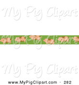 Swine Clipart of a Border of Dirty Pigs on a Green Border by Prawny