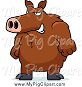 Swine Clipart of a Brown Angry Boar by Cory Thoman