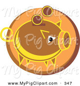Swine Clipart of a Brown Piggy Coin Bank over an Orange Circle by Prawny