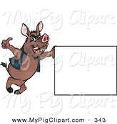 Swine Clipart of a Brown Wild Hog Leaning on a Sign and Giving the Thumbs up by Dennis Holmes Designs