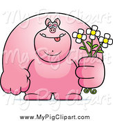 Swine Clipart of a Brute Pig Holding Flowers by Cory Thoman