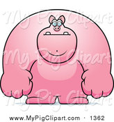Swine Clipart of a Buff Pink Pig by Cory Thoman