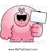 Swine Clipart of a Buff Pink Pig Holding a Sign by Cory Thoman