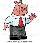 Swine Clipart of a Business Pig Waving by Cory Thoman