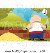 Swine Clipart of a Busy Pig Building a House of Bricks and Whistling by Mayawizard101