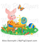 Swine Clipart of a Butterfly Watching a Snail Talk with a Pig at a Table, Surrounded by Toys and Colored Pencils by Alex Bannykh