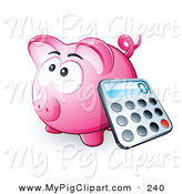 Swine Clipart of a Calculator Resting Against a Pink Piggy Bank on White by Beboy