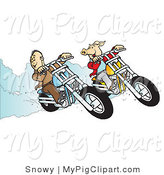 Swine Clipart of a Carefree Biker Dude and Pig Racing Their Choppers by Snowy