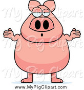 Swine Clipart of a Careless Pig Shrugging and Standing by Cory Thoman